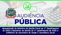 Audiência pública apresentará Relatório de Gestão do 1° Quadrimestre de 2020